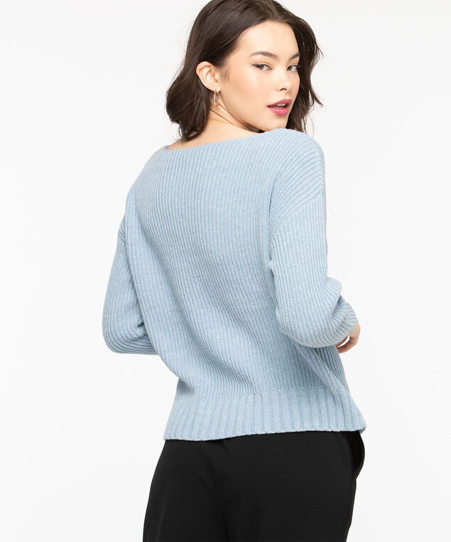 Ribbed Boat Neck Pullover Sweater, Blue Bell