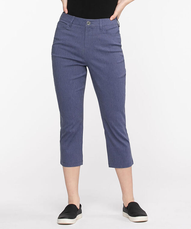 Microtwill Pull-On Crop Pant, Blue Melange