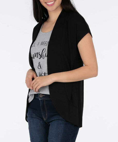 Short Sleeve Open Cardigan, Black, hi-res