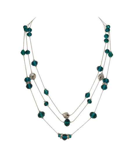 Stationed Bead Necklace, Midnight Teal/Rhodium, hi-res
