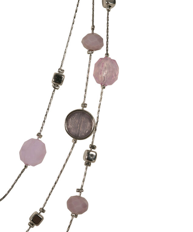 Stationed Bead Statement Necklace, Iced Violet/Rhodium, hi-res