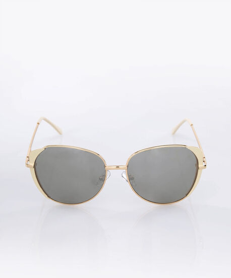 Rounded Cateye Sunglasses, Ivory/Gold, hi-res