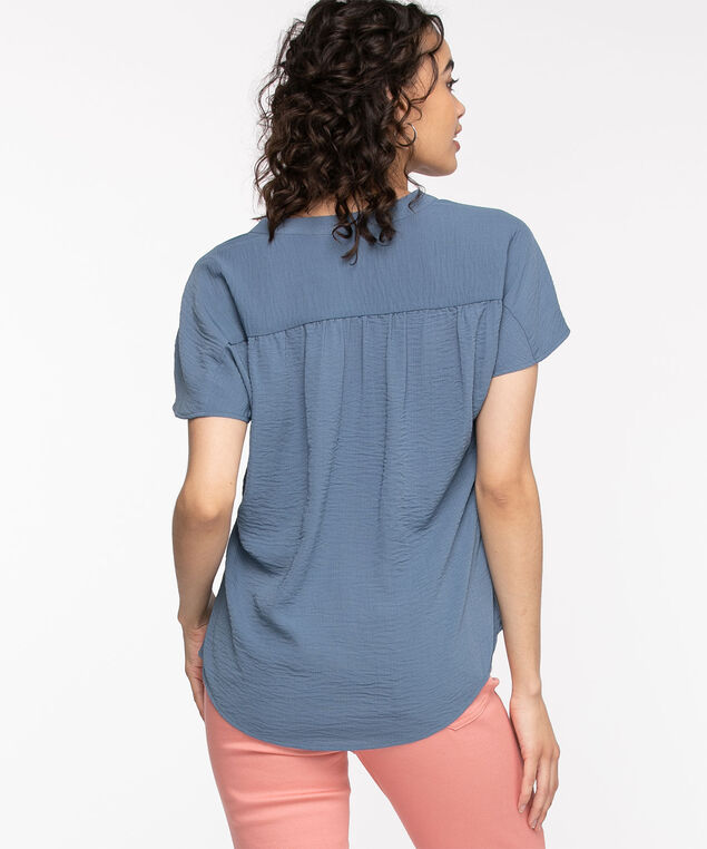 Extended Sleeve Henley Blouse, Chambray