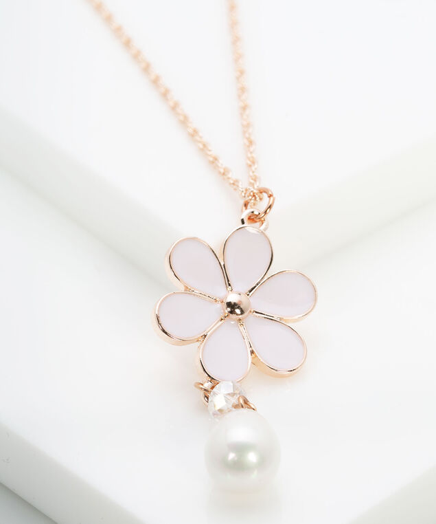 Flower & Pearl Pendant Necklace, Rose Gold/Rose Petal/Pearl, hi-res