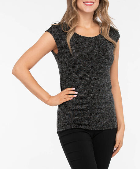 Extended Sleeve Scoop Neck Shimmer Top, Silver, hi-res