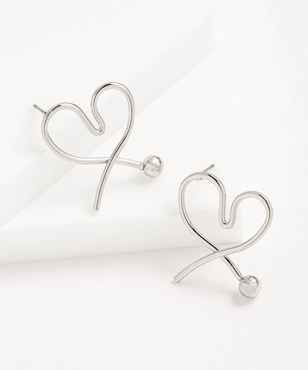 Open Metal Heart Earring, Silver