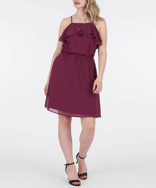 Strappy Ruffle Neck Dress, Black Cherry, hi-res