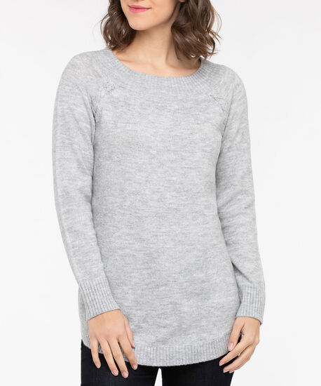 Lace Up Detail Boatneck Sweater, Light Heather Grey, hi-res