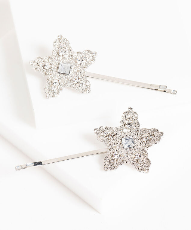 Starry Snowflake Bobby Pin 2-Pack, Silver, hi-res
