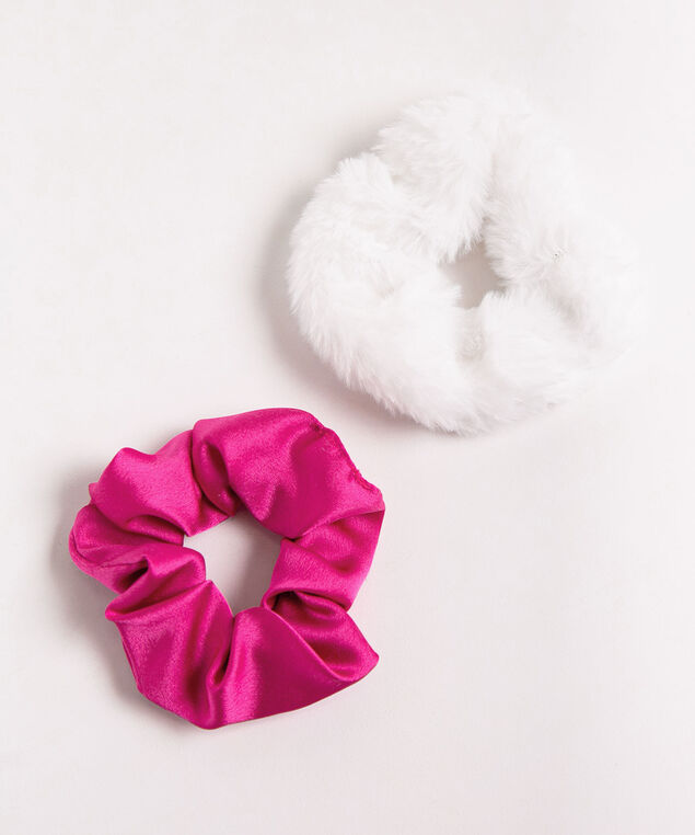 Snowman Scrunchie Set, White/Bright Pink, hi-res