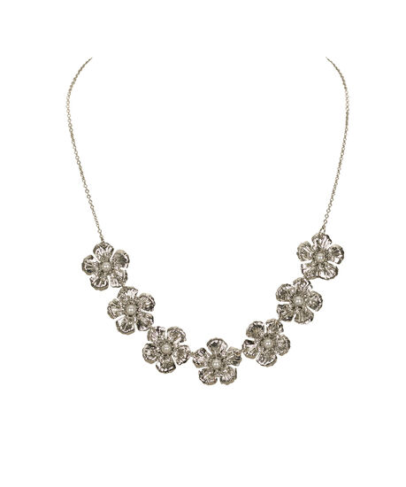 Flower & Pearl Mini Statement Necklace, White Rhodium, hi-res