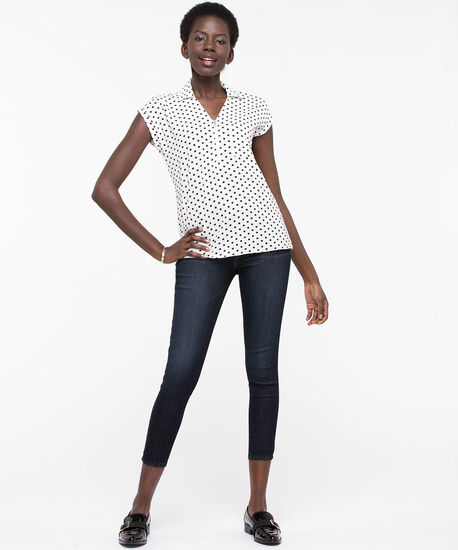 Polka Dot Bubble-Crepe Blouse, Pearl/Black, hi-res