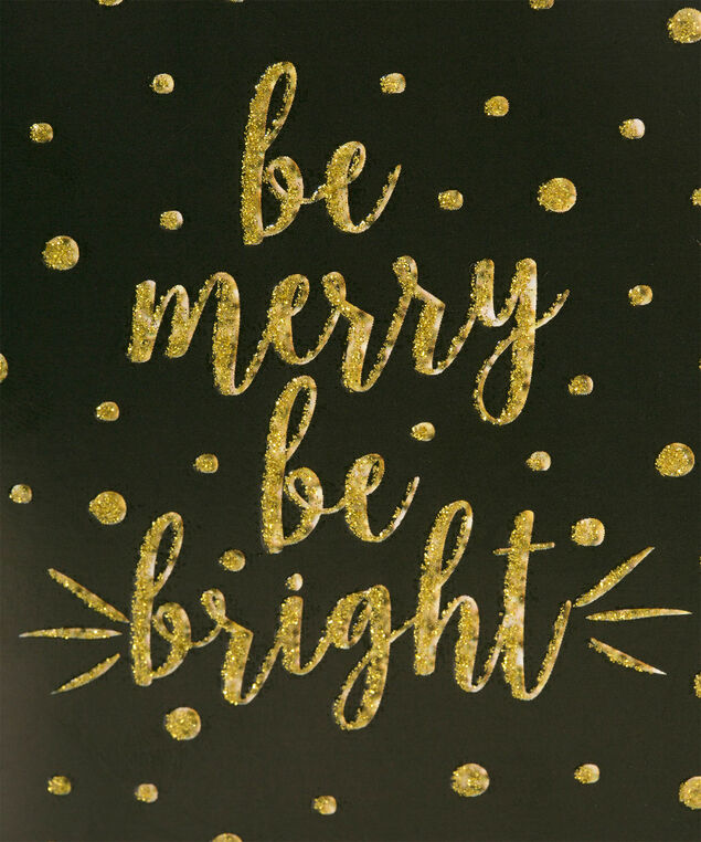 """Be Merry Be Bright"" Gift Tube, Black/Gold, hi-res"