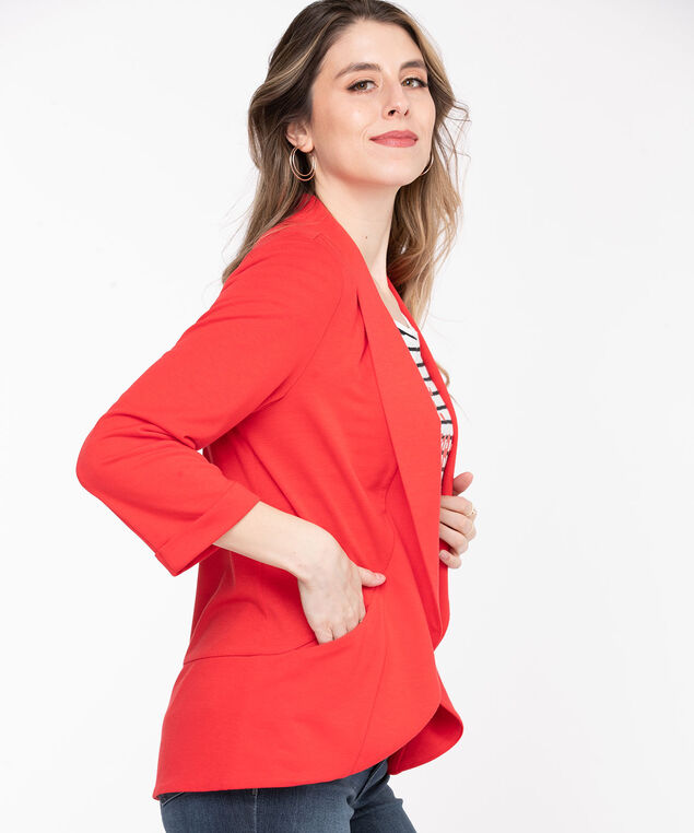 Terry Shawl Collar Cover Up, Poppy Red