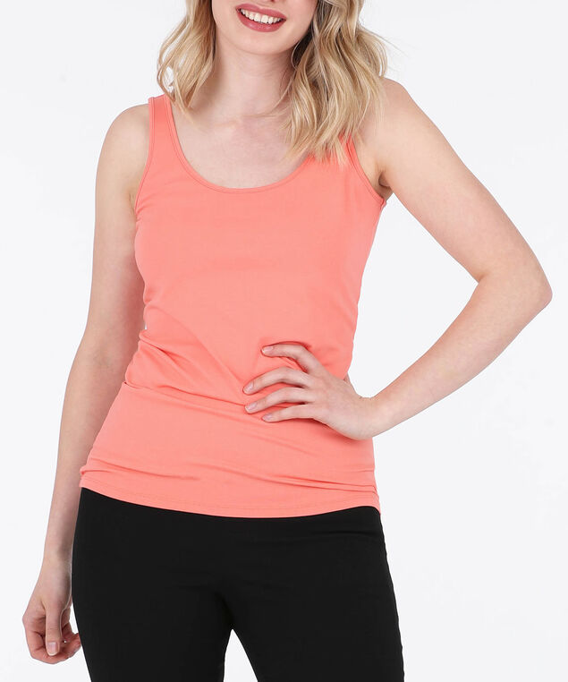 Scoop Neck Cami, Tangerine, hi-res