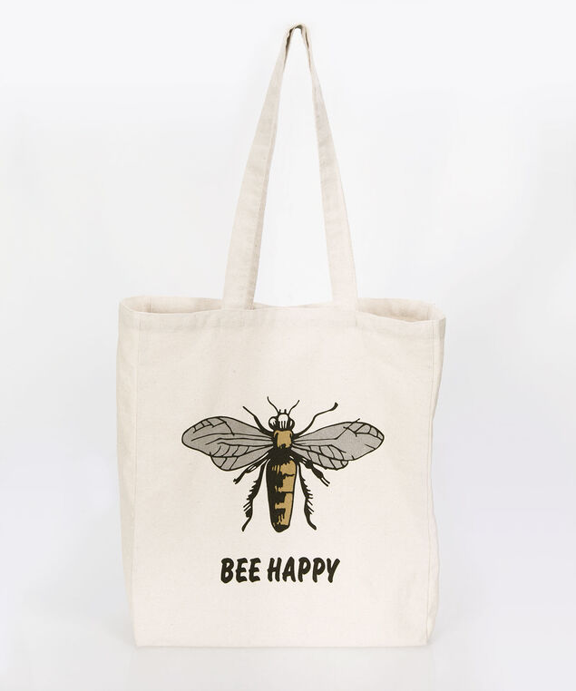 """Bee Happy"" Canvas Tote, Natural/Yellow/Black, hi-res"