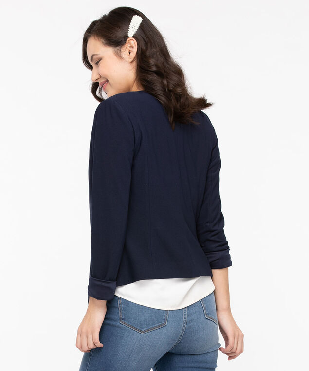 Zipper Trim Easy Stretch Blazer, Summer Navy, hi-res