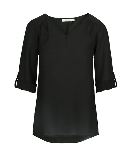 Roll-Tab V-Neck Blouse, Black, hi-res