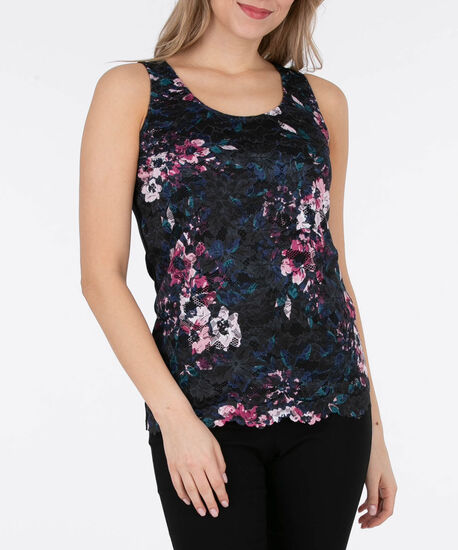 Sleeveless Lace Overlay Top, Black/Pink/Teal, hi-res