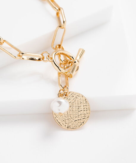 Metal Chain Link Charm Necklace, Gold/Pearl, hi-res