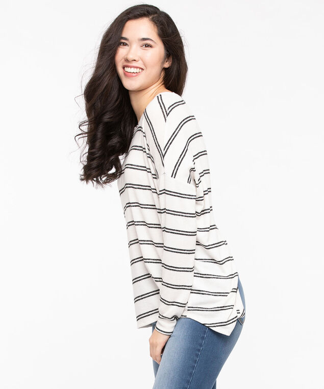Cozy Stripe Split Back Top, Black/Pearl, hi-res