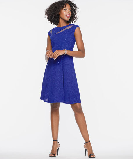 Spliced Illusion Neck Fit & Flare Dress, Cobalt Sparkle, hi-res