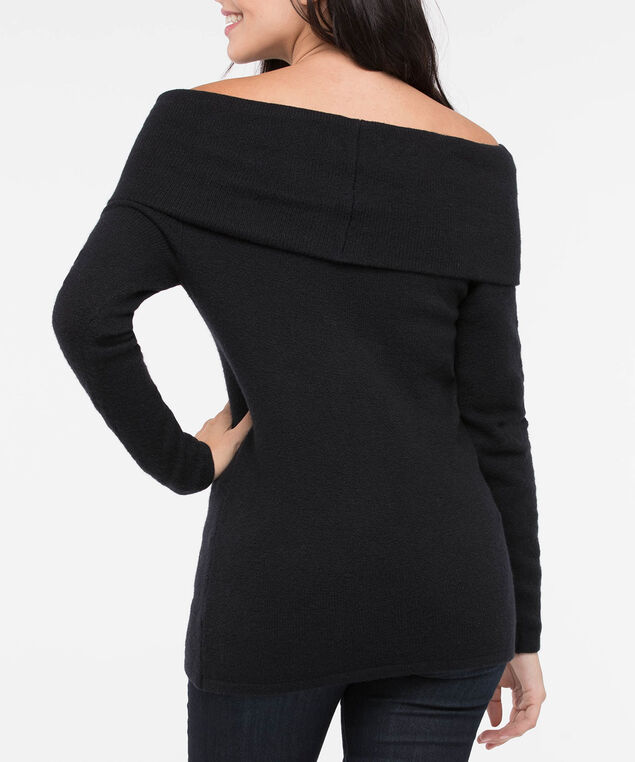 Off-the-Shoulder Cowl Neck Sweater, Black, hi-res