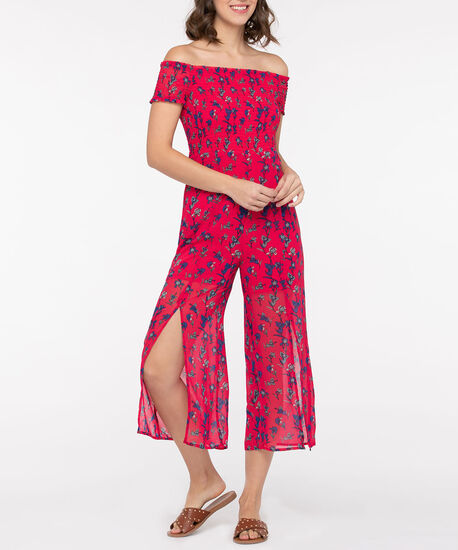 Off-The-Shoulder Split Leg Jumpsuit, Hibiscus/Cobalt, hi-res