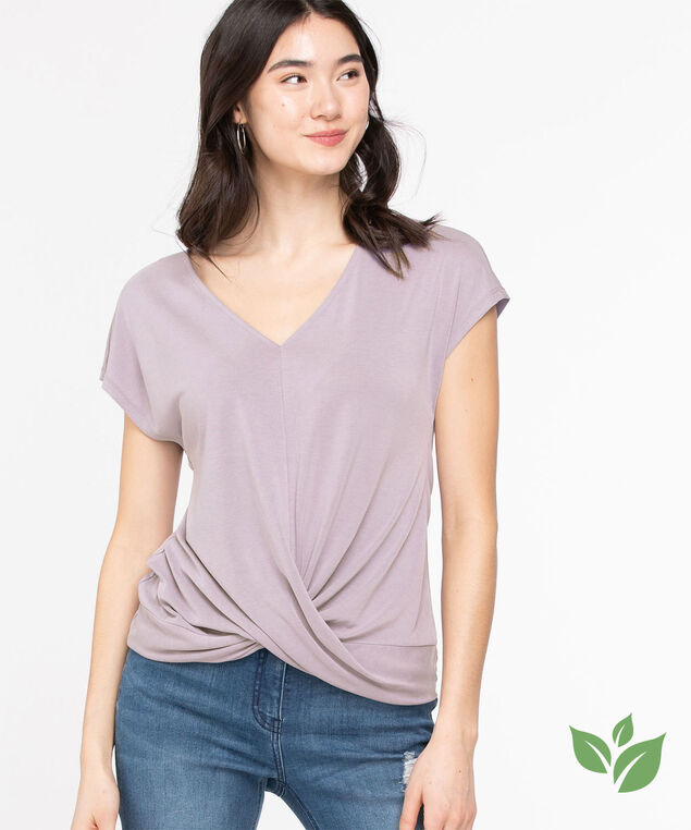 Eco-Friendly V-Neck Twist Hem Top, Purple Ash