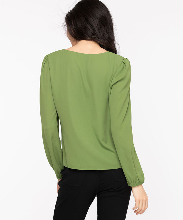 Long Sleeve V-Neck Blouse, Willow Bough
