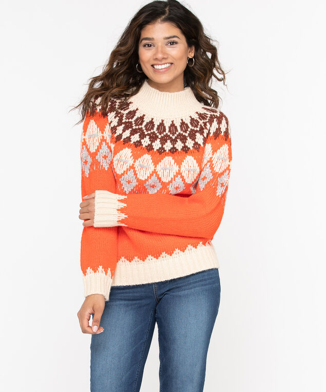 Fair Isle Mock Neck Sweater, Orange/Brown/Almond, hi-res