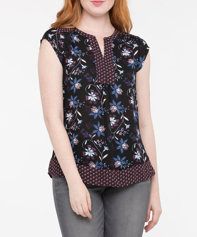Cap Sleeve Twin Print Blouse, Black/Deep Sapphire/Dark Rust, hi-res