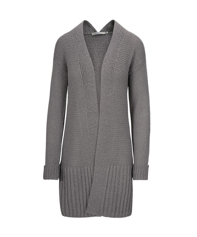 Plush Open Tunic Cardigan, Grey, hi-res