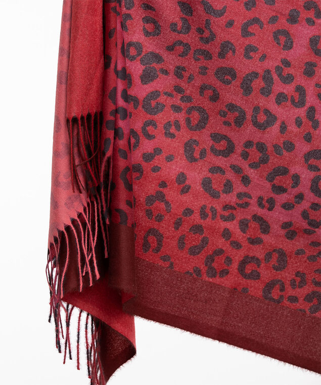 Red Leopard Print Scarf, Red/Black