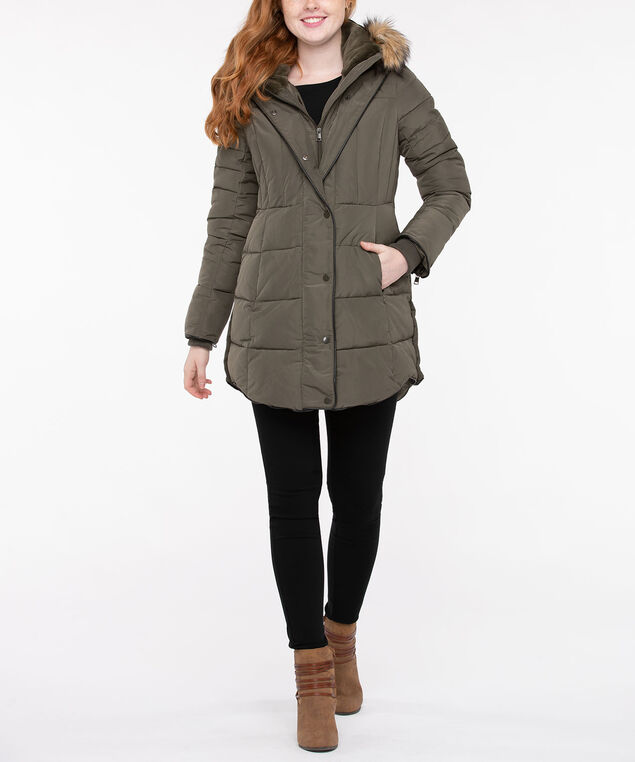 Faux Fur & Leather Trim Puffer Coat, Olive, hi-res