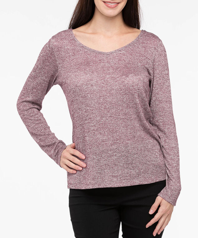 Long Sleeve Tie Back Top, Burgundy, hi-res