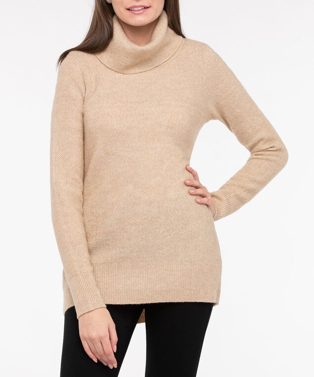 Funnel Neck High-Low Sweater, Camel, hi-res