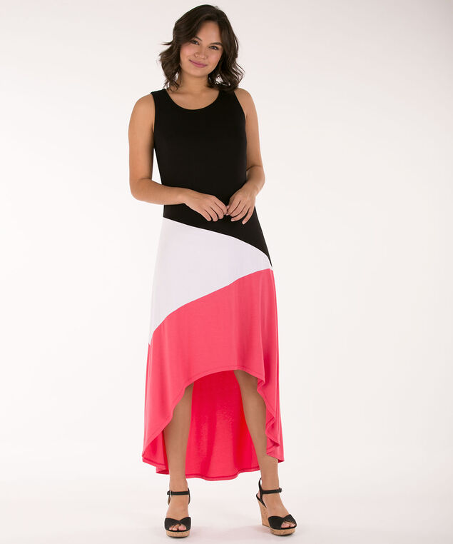 Colour Block High-Low Dress, Black/White/Coral, hi-res