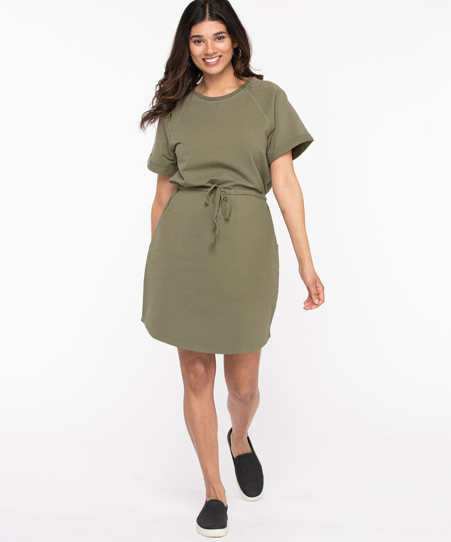 French Terry Crew Neck Dress, Four Leaf Clover