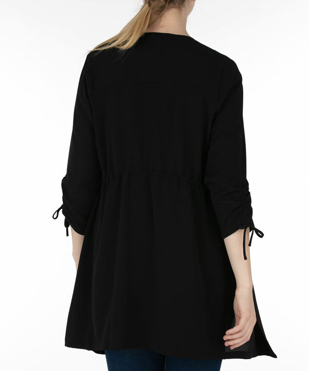 Long Drape Front Blazer, Black, hi-res