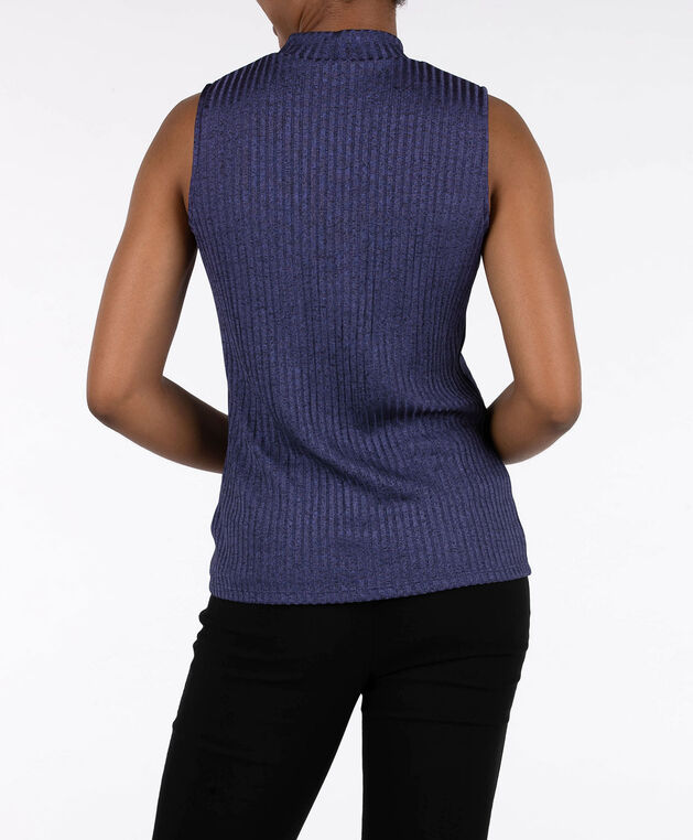 Sleeveless Ribbed Mock Neck Top, Ink Blue, hi-res