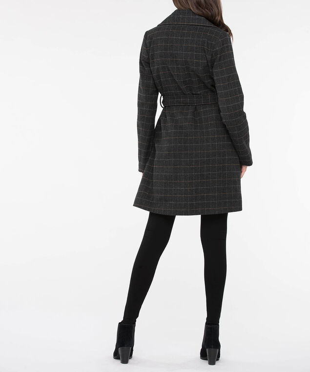 Plaid Belted Wrap Coat, Charcoal/Marigold/Light Grey, hi-res