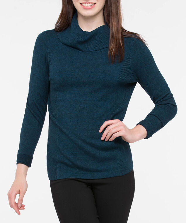 Button Up Split Neck Sweater, Steel Blue, hi-res
