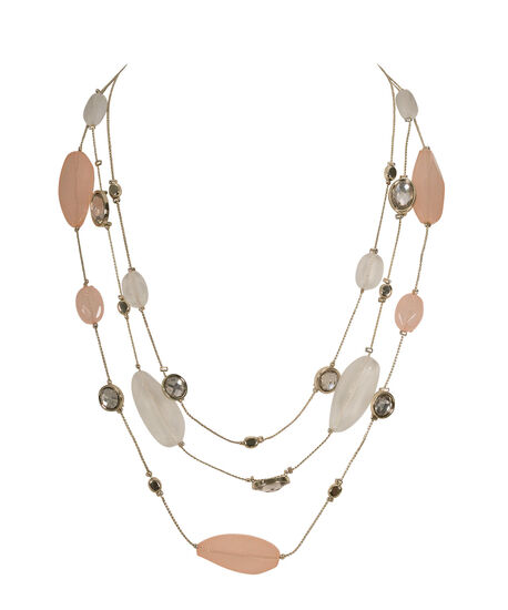 Icy Pastel Stationed Bead Necklace, Apricot/Milkshake/Soft Gold, hi-res