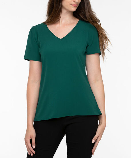 Short Sleeve V-Neck Blouse, Ivy, hi-res
