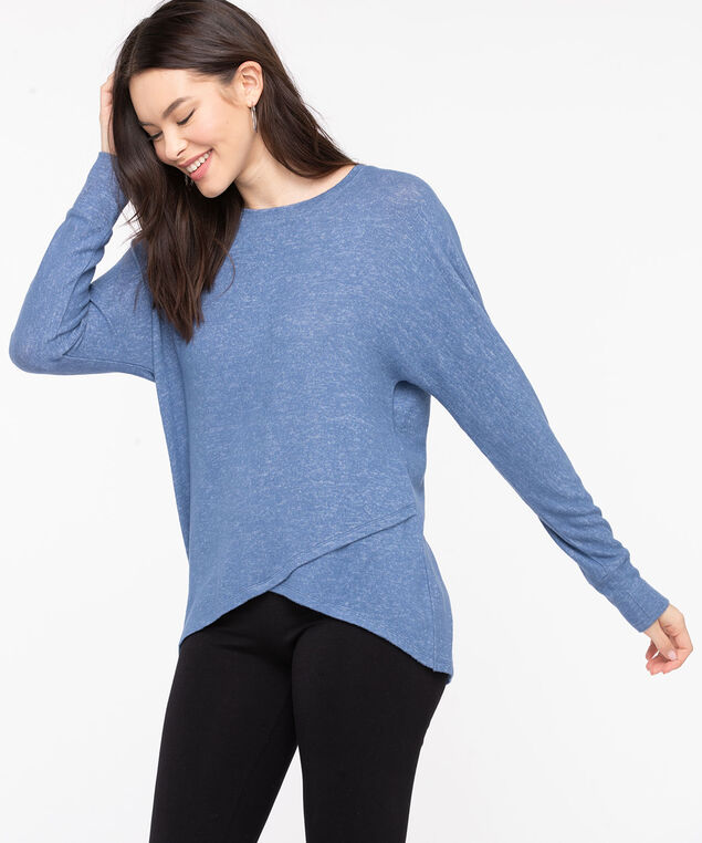 Tulip Hem Lightweight Knit Top, Bijou Blue