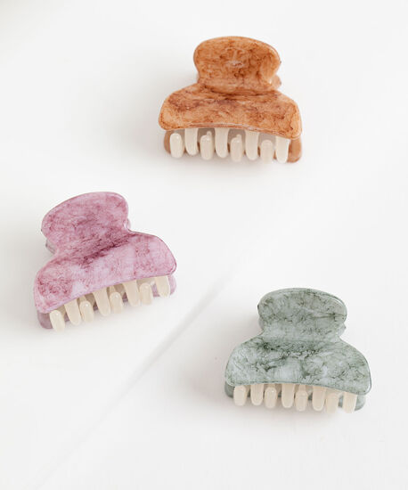 Small Claw Clip 3-Pack, Purple/Brown/Green, hi-res