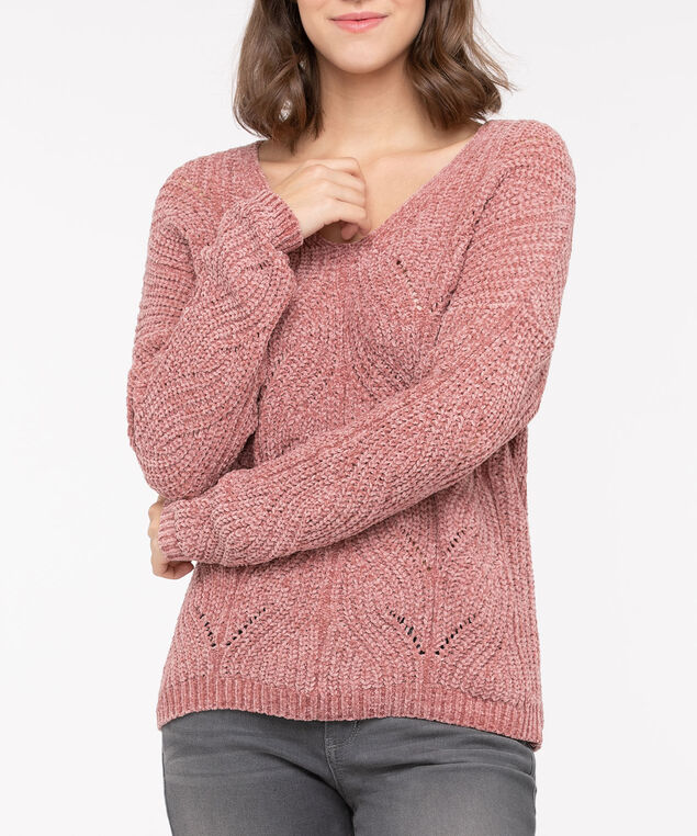 Pointelle Chenille Pullover Sweater, Dusty Blush, hi-res