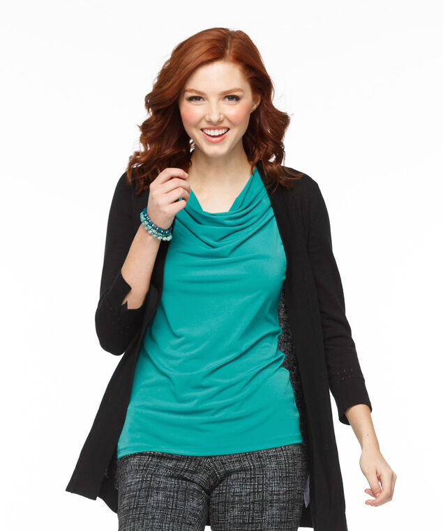 Pleated Cowl Neck Top, Peacock, hi-res