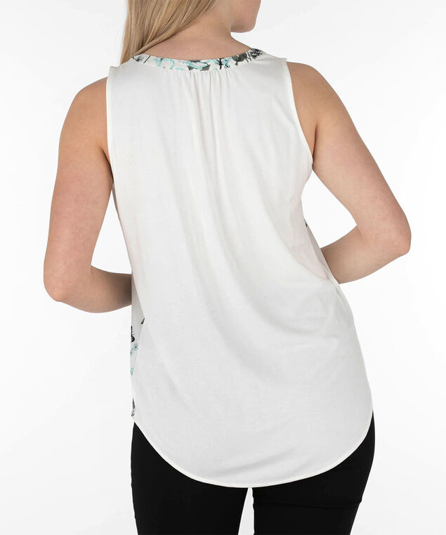 Sleeveless Henley Top, Pearl/Aqua/Pink, hi-res
